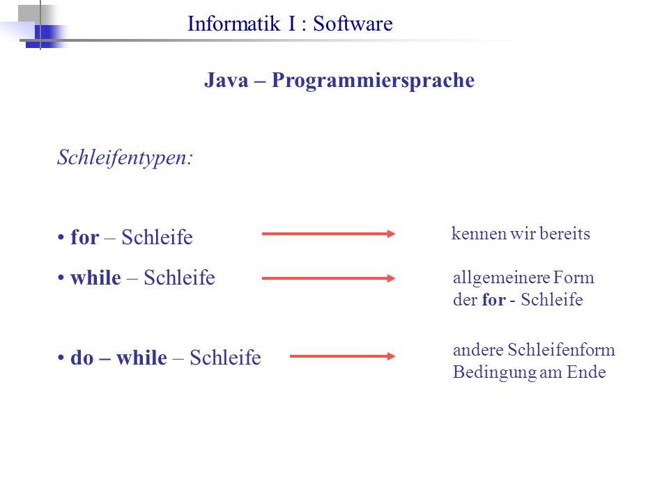 Informatik I : Software Java – Programmiersprache Schleifentypen: for – Schleife while – Schleife do – while – Schleife kennen wir bereits allgemeinere Form der for - Schleife andere Schleifenform Bedingung am Ende
