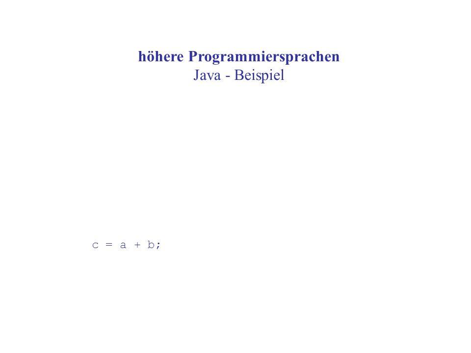 höhere Programmiersprachen Java - Beispiel c = a + b;