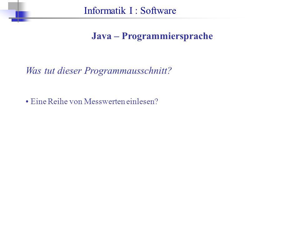 Informatik I : Software Java – Programmiersprache Was tut dieser Programmausschnitt.