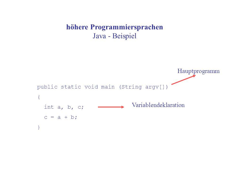 höhere Programmiersprachen Java - Beispiel public static void main (String argv[]) { int a, b, c; c = a + b; } Variablendeklaration Hauptprogramm