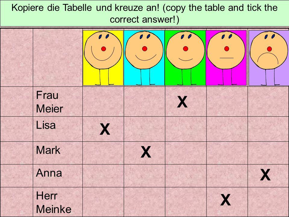 Frau Meier Lisa Mark Anna Herr Meinke Kopiere die Tabelle und kreuze an! (Copy the table and tick the correct answer!)
