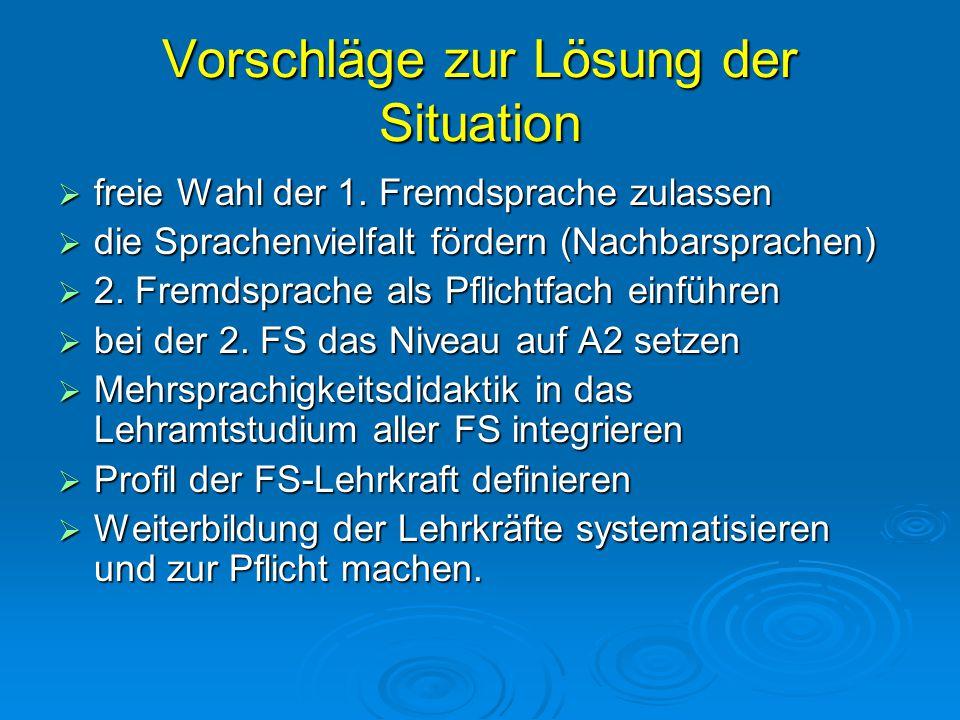 Vorschläge zur Lösung der Situation  freie Wahl der 1. Fremdsprache zulassen  die Sprachenvielfalt fördern (Nachbarsprachen)  2. Fremdsprache als P