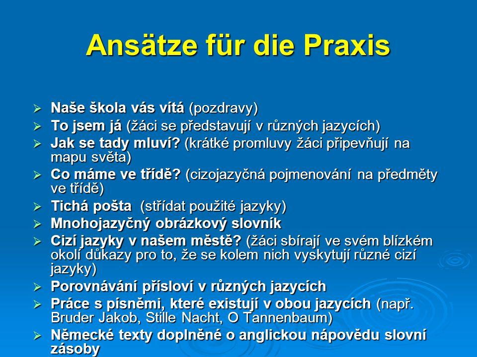 Ansätze für die Praxis  Naše škola vás vítá (pozdravy)  To jsem já (žáci se představují v různých jazycích)  Jak se tady mluví? (krátké promluvy žá