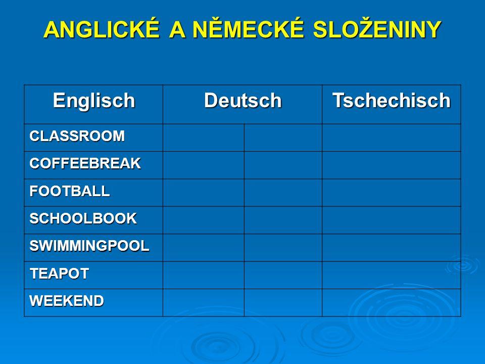 ANGLICKÉ A NĚMECKÉ SLOŽENINY EnglischDeutschTschechisch CLASSROOM COFFEEBREAK FOOTBALL SCHOOLBOOK SWIMMINGPOOL TEAPOT WEEKEND