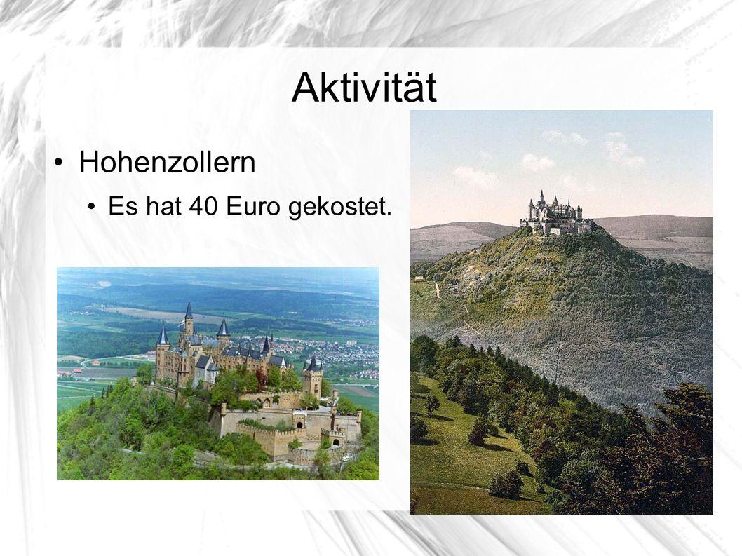 Aktivität Hohenzollern Es hat 40 Euro gekostet.