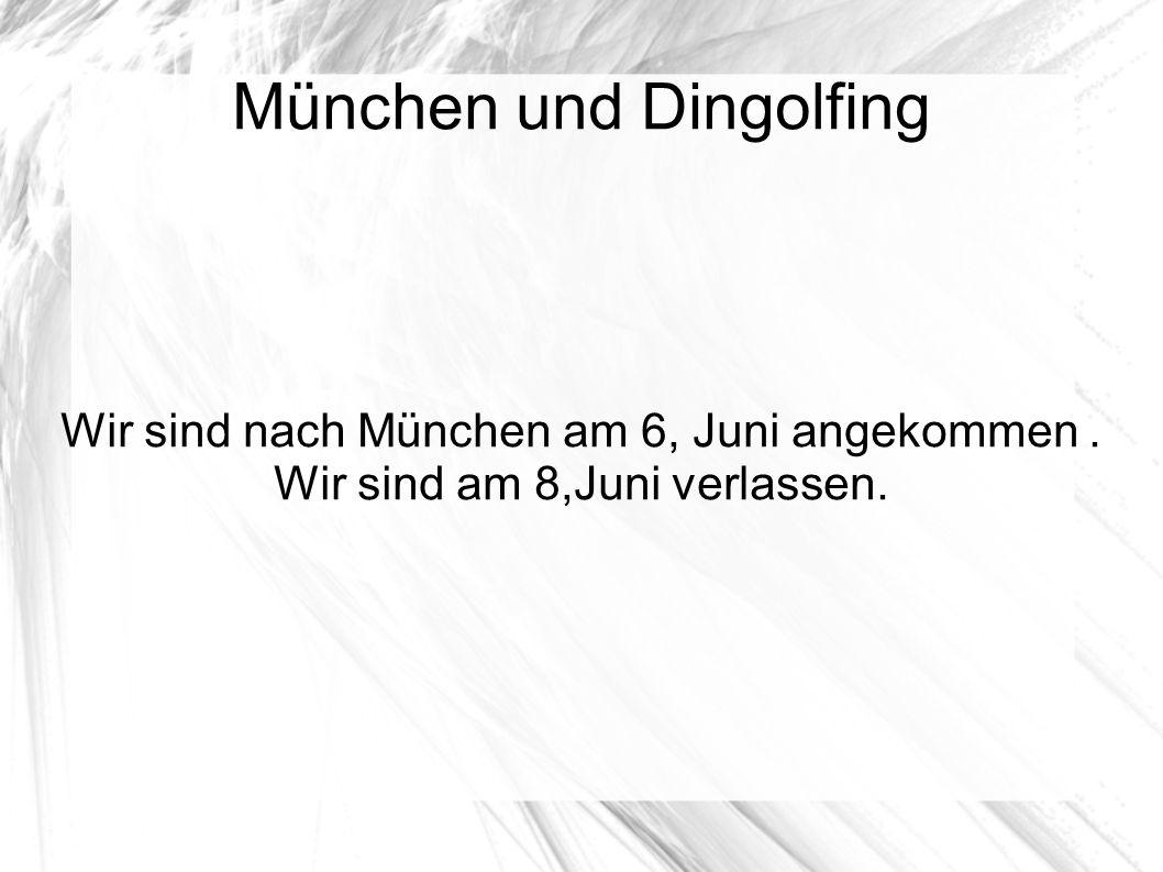 München und Dingolfing Wir sind nach München am 6, Juni angekommen. Wir sind am 8,Juni verlassen.