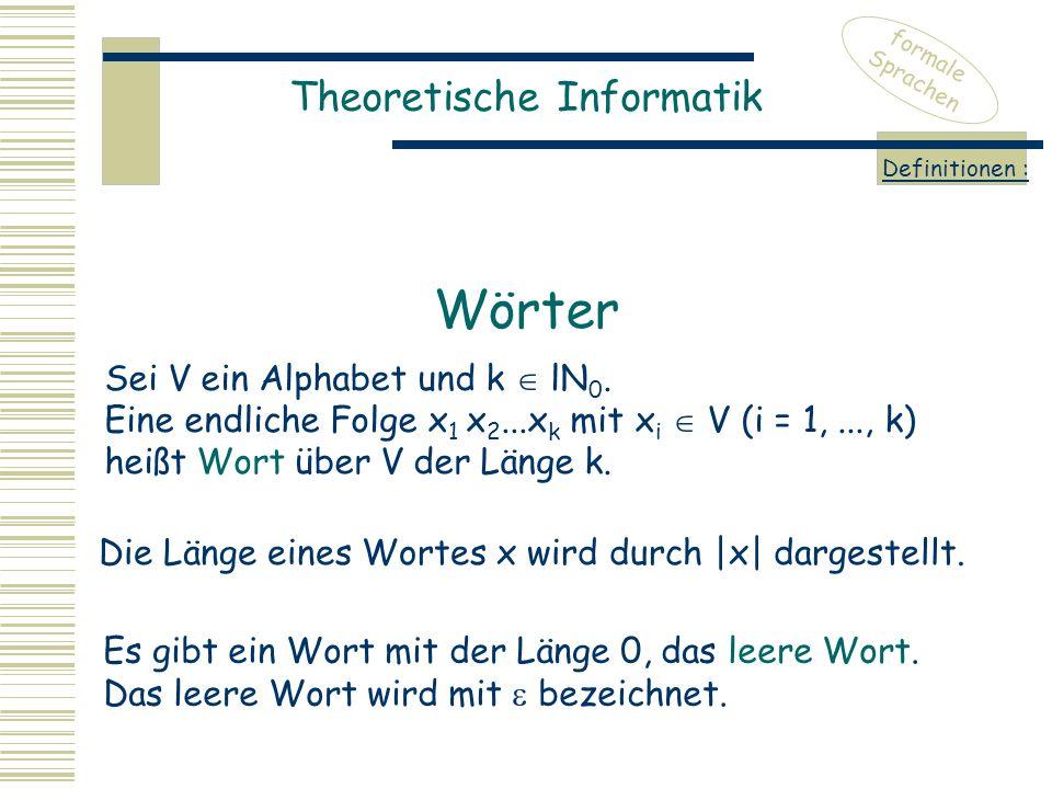 Theoretische Informatik formale Sprachen Definitionen : Sei V ein Alphabet und k  lN 0. Eine endliche Folge x 1 x 2...x k mit x i  V (i = 1,..., k)
