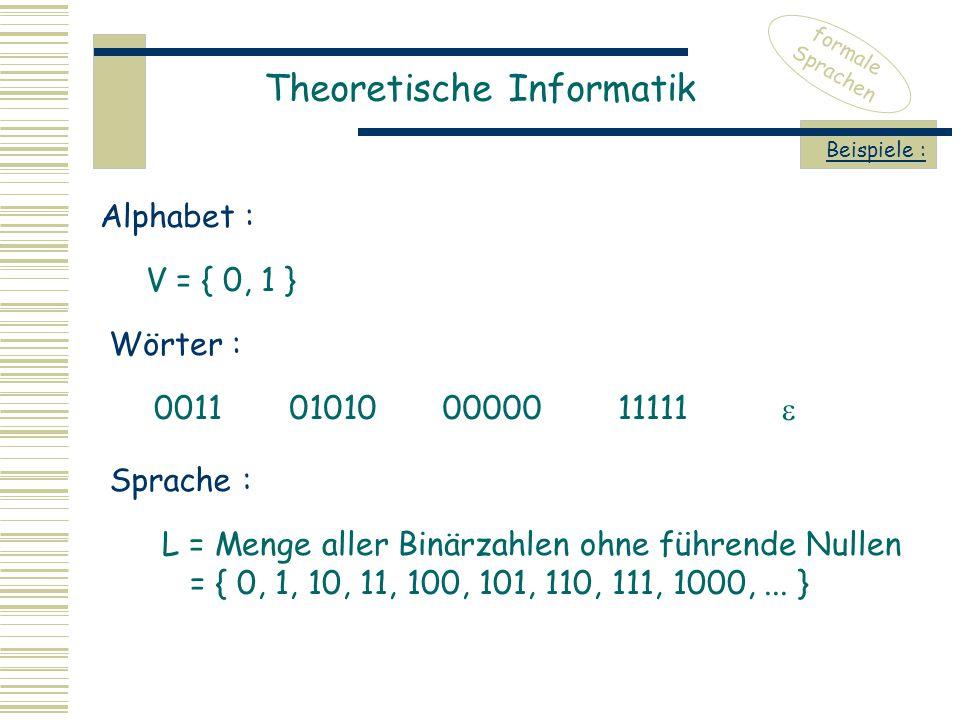 Theoretische Informatik formale Sprachen Beispiele : V = { 0, 1 } Alphabet : Wörter : 0011010100000011111  Sprache : L = Menge aller Binärzahlen ohne führende Nullen = { 0, 1, 10, 11, 100, 101, 110, 111, 1000,...