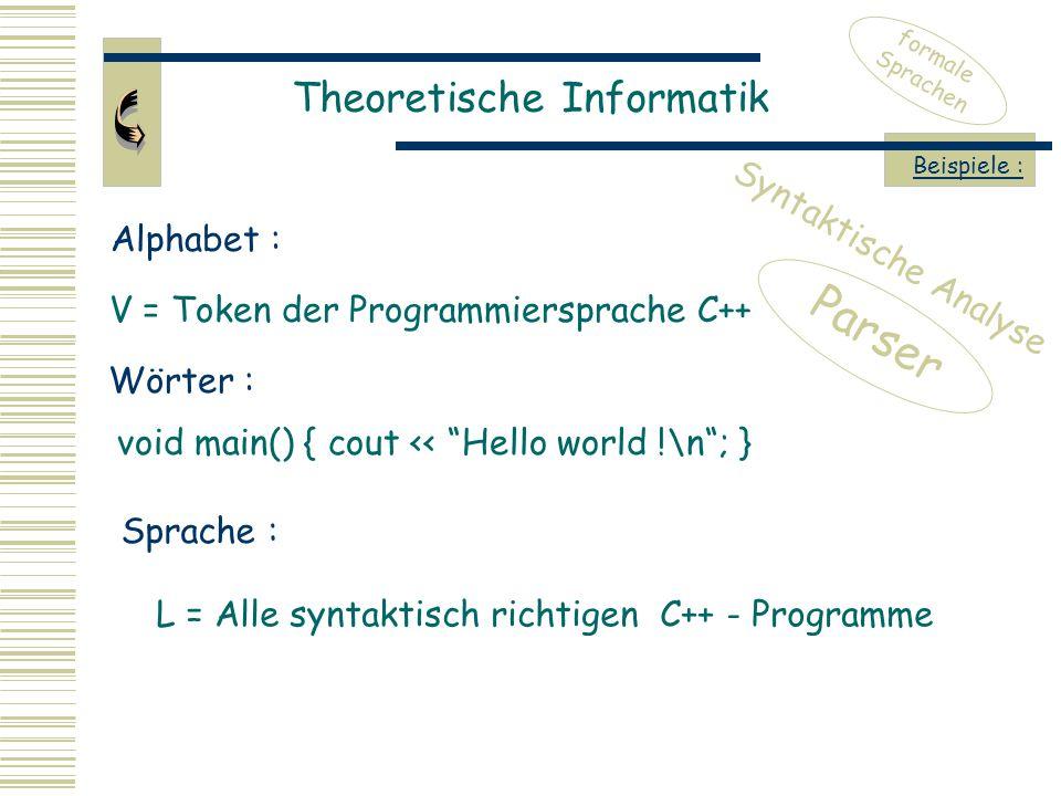 Theoretische Informatik formale Sprachen Beispiele : V = Token der Programmiersprache C++ Alphabet : Wörter : void main() { cout << Hello world !\n ; } Sprache : L = Alle syntaktisch richtigen C++ - Programme Parser Syntaktische Analyse