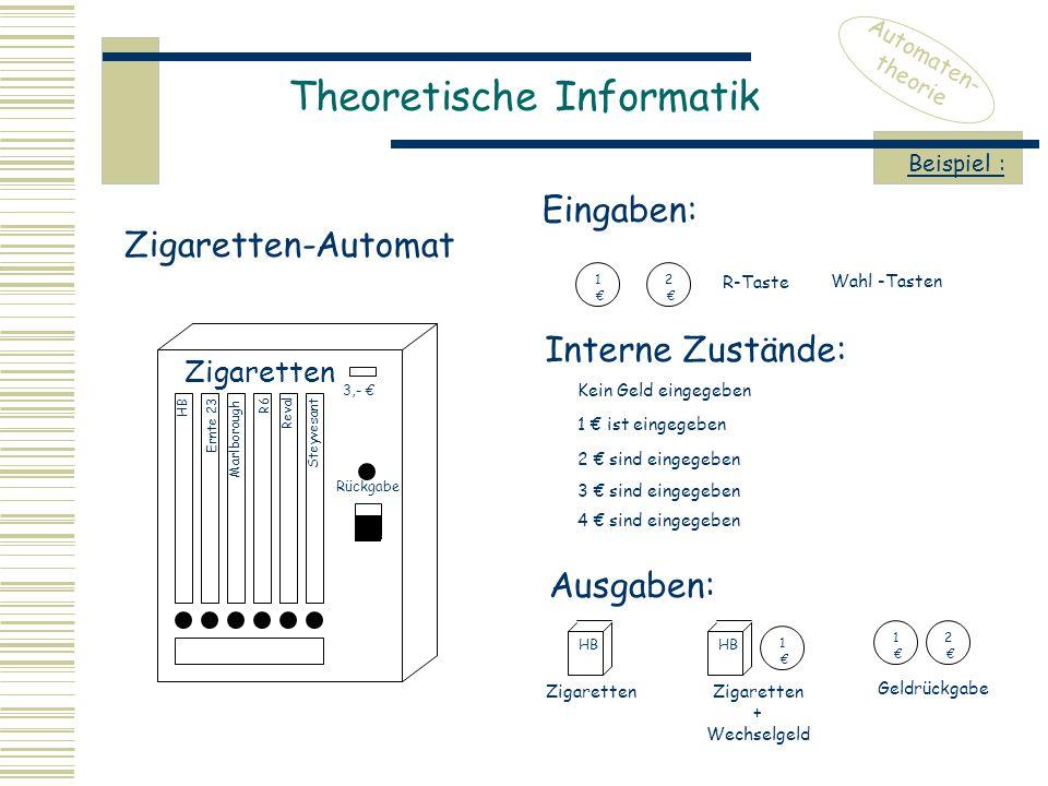 Theoretische Informatik Automaten- theorie Zigaretten-Automat 3,- € Rückgabe Zigaretten HB Ernte 23 Marlborough R6 Reval Steyvesant Eingaben: Interne