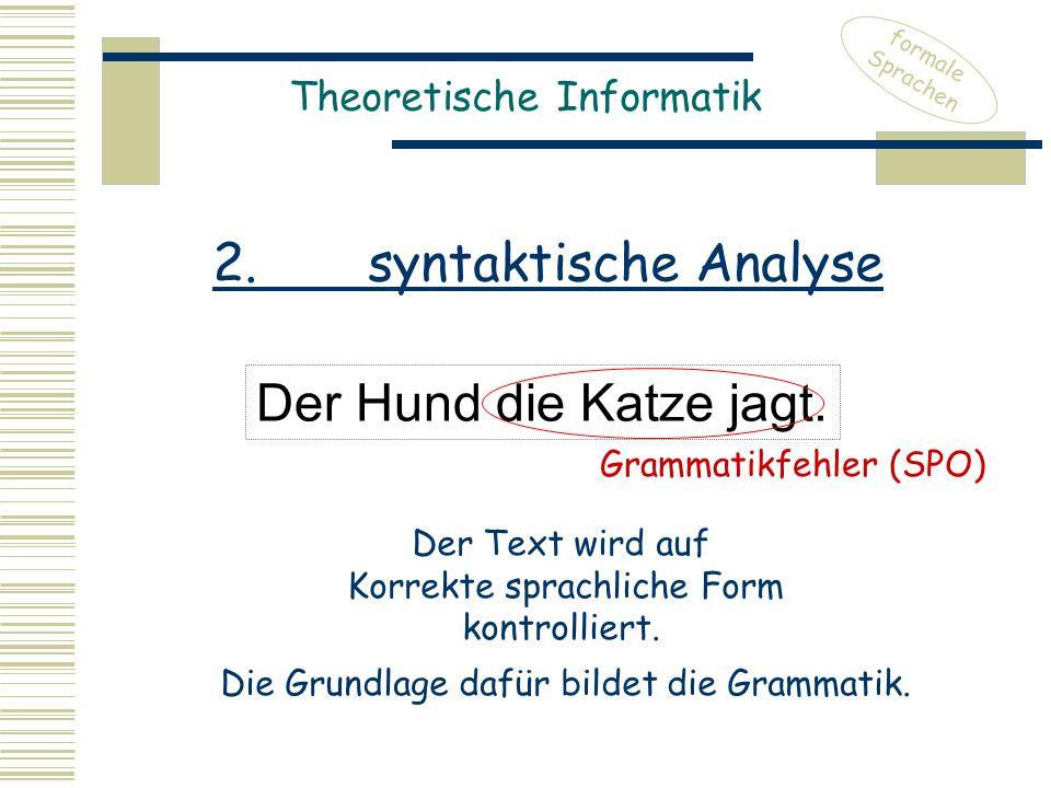 Theoretische Informatik Der Hund die Katze jagt. formale Sprachen Grammatikfehler (SPO) Der Text wird auf Korrekte sprachliche Form kontrolliert. Die