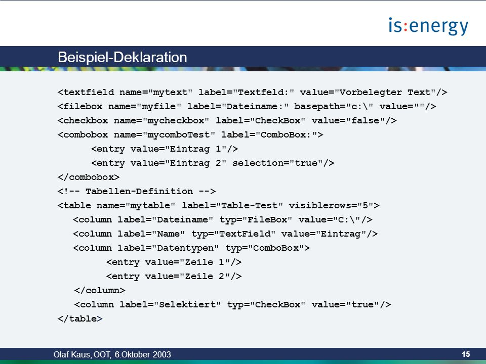 Olaf Kaus, OOT, 6.Oktober 2003 14 Entwicklung eines GUI Deklarative Beschreibung der Oberfläche Eingabemöglichkeiten Textfelder Auswahllisten (ComboBox) Selektionen (CheckBox) Tabelleneingabe Eingabe der dynamischen Daten