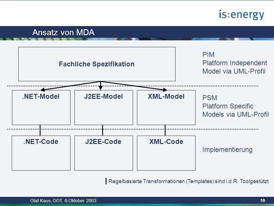 Olaf Kaus, OOT, 6.Oktober 2003 18 Ziele von MDA Entwicklungsgeschwindigkeit erhöhen: Automation durch Formalisierung (Vergleich zu Produktionsstrassen im Automobilbau) Softwarequalität Wiederverwendbarkeit Wartbarkeit durch Trennung von Verantwortlichkeiten (Separation of Concerns) Handhabbarkeit von Technologiewandel