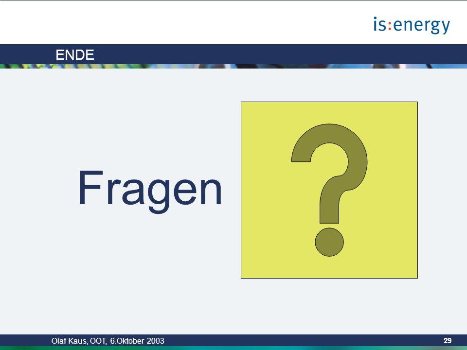 Olaf Kaus, OOT, 6.Oktober 2003 28 Zusammenfassung Es wird nichts generiert, was nicht vorher in Form einer Referenzimplementierung verifiziert wurde.