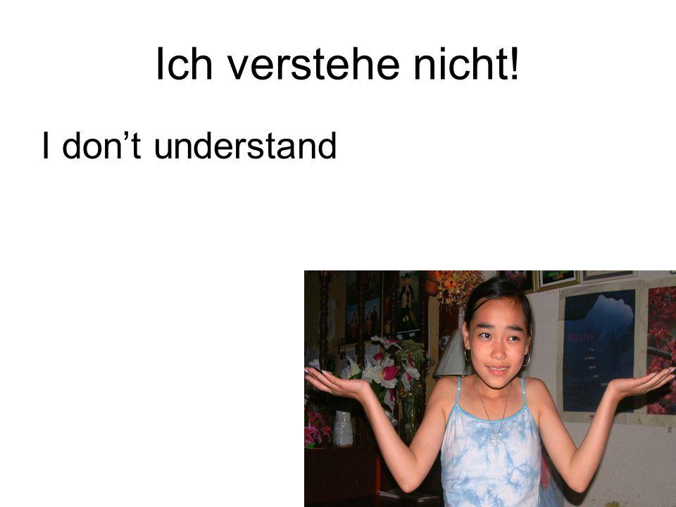 Ich verstehe nicht! I don't understand