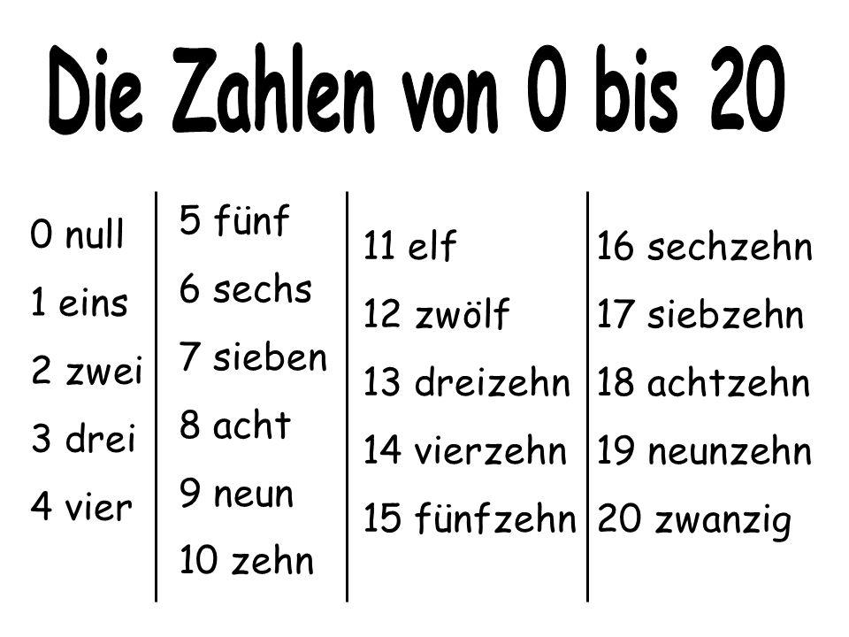 0 null 1 eins 2 zwei 3 drei 4 vier 16 sechzehn 17 siebzehn 18 achtzehn 19 neunzehn 20 zwanzig 11 elf 12 zwölf 13 dreizehn 14 vierzehn 15 fünfzehn 5 fünf 6 sechs 7 sieben 8 acht 9 neun 10 zehn