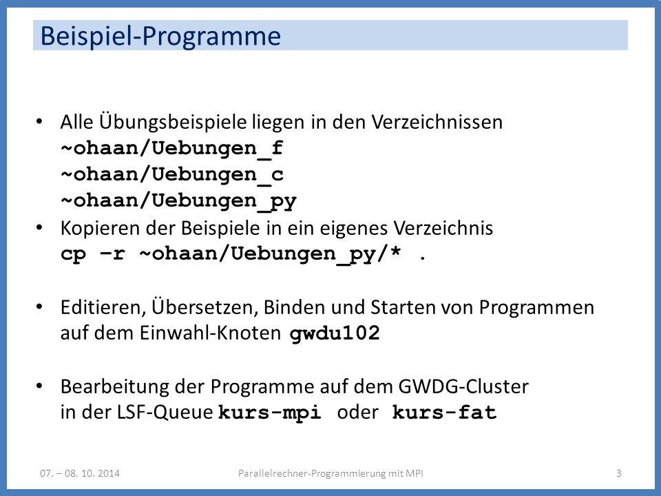 Beispiel-Programme Parallelrechner-Programmierung mit MPI307.