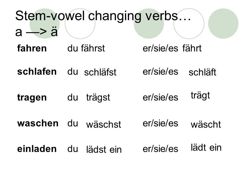 Stem-vowel changing verbs… a —> ä fahrendu fährster/sie/es fährt schlafenduer/sie/es tragenduer/sie/es waschenduer/sie/es einladenduer/sie/es schläfst wäscht schläft lädst ein trägst wäschst trägt lädt ein