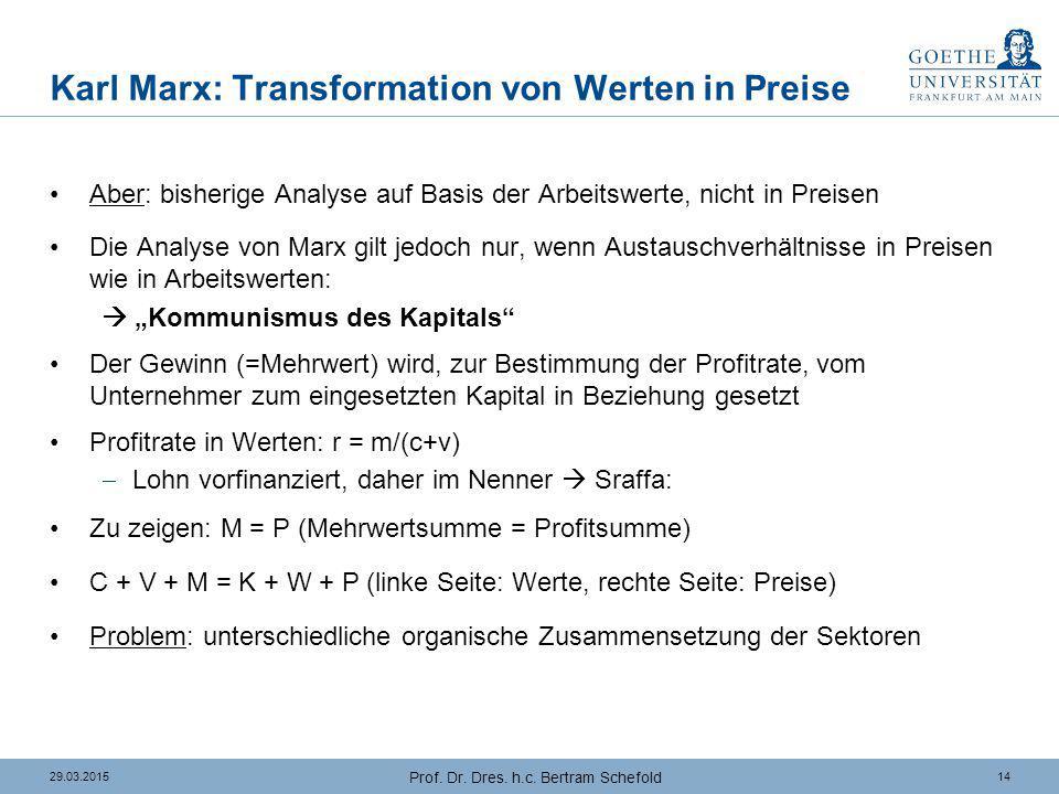 1429.03.2015 Prof. Dr. Dres. h.c. Bertram Schefold Karl Marx: Transformation von Werten in Preise Aber: bisherige Analyse auf Basis der Arbeitswerte,