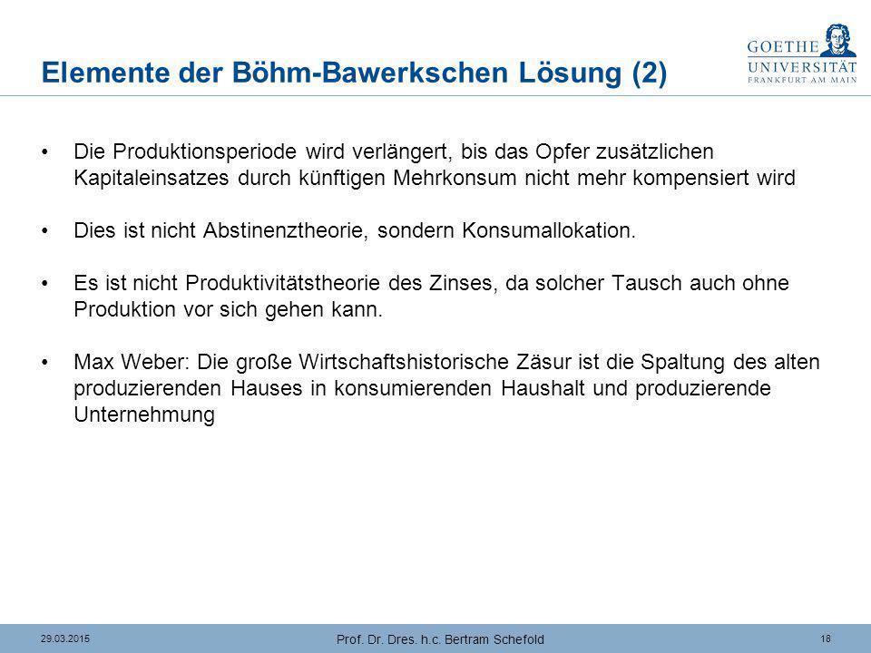 1829.03.2015 Prof. Dr. Dres. h.c. Bertram Schefold Elemente der Böhm-Bawerkschen Lösung (2) Die Produktionsperiode wird verlängert, bis das Opfer zusä