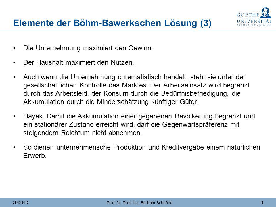 1929.03.2015 Prof. Dr. Dres. h.c. Bertram Schefold Elemente der Böhm-Bawerkschen Lösung (3) Die Unternehmung maximiert den Gewinn. Der Haushalt maximi