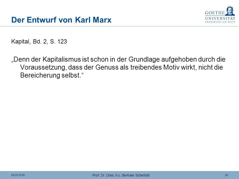 """2029.03.2015 Prof. Dr. Dres. h.c. Bertram Schefold Der Entwurf von Karl Marx Kapital, Bd. 2, S. 123 """"Denn der Kapitalismus ist schon in der Grundlage"""