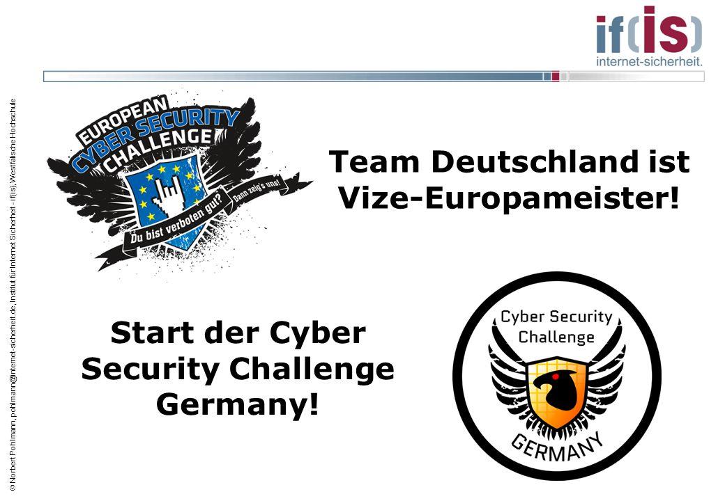  Norbert Pohlmann, pohlmann@internet-sicherheit.de, Institut für Internet Sicherheit - if(is), Westfälische Hochschule Team Deutschland ist Vize-Euro
