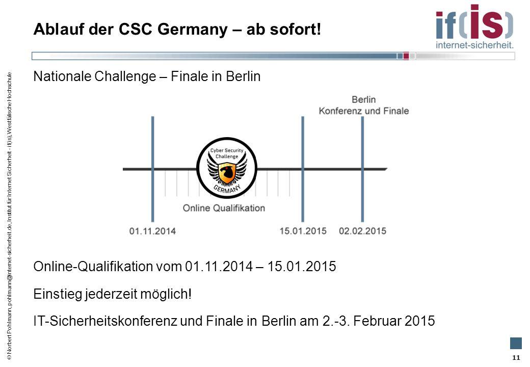  Norbert Pohlmann, pohlmann@internet-sicherheit.de, Institut für Internet Sicherheit - if(is), Westfälische Hochschule Ablauf der CSC Germany – ab so