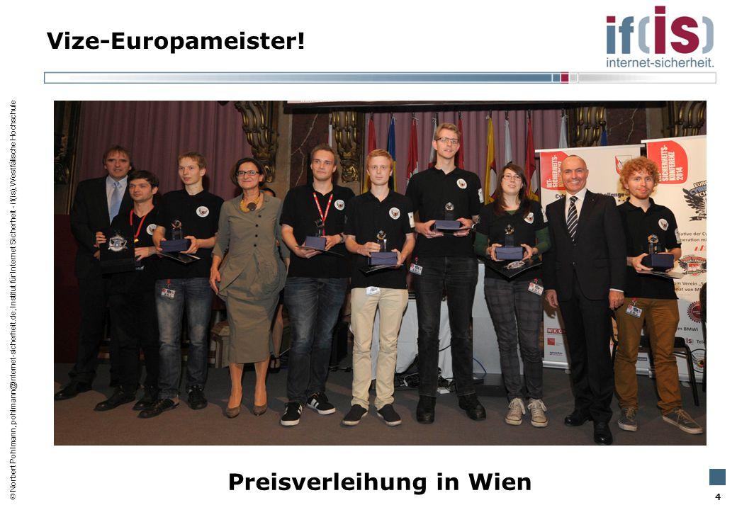  Norbert Pohlmann, pohlmann@internet-sicherheit.de, Institut für Internet Sicherheit - if(is), Westfälische Hochschule Vize-Europameister! 4 Preisver