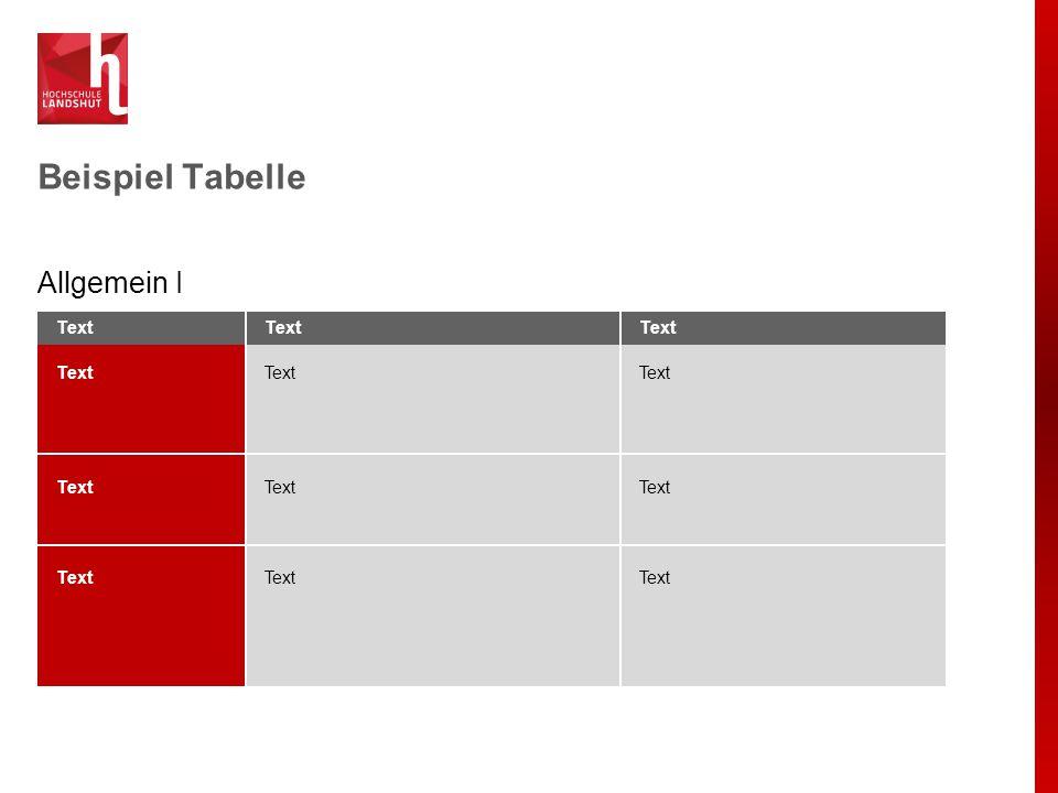 Beispiel Tabelle Allgemein I Text
