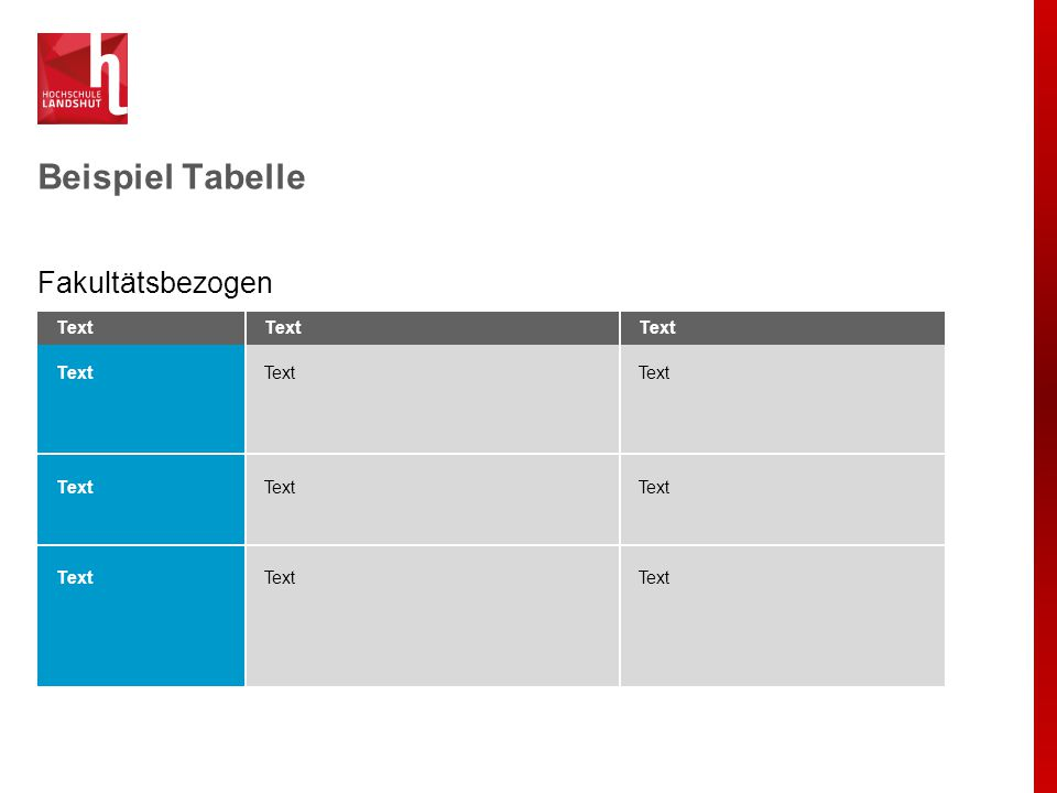 Beispiel Tabelle Fakultätsbezogen Text