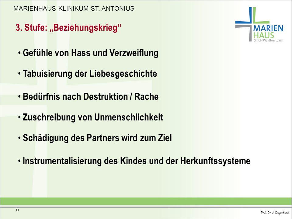 """MARIENHAUS KLINIKUM ST. ANTONIUS Prof. Dr. J. Degenhardt 11 3. Stufe: """"Beziehungskrieg"""" Gefühle von Hass und Verzweiflung Tabuisierung der Liebesgesch"""