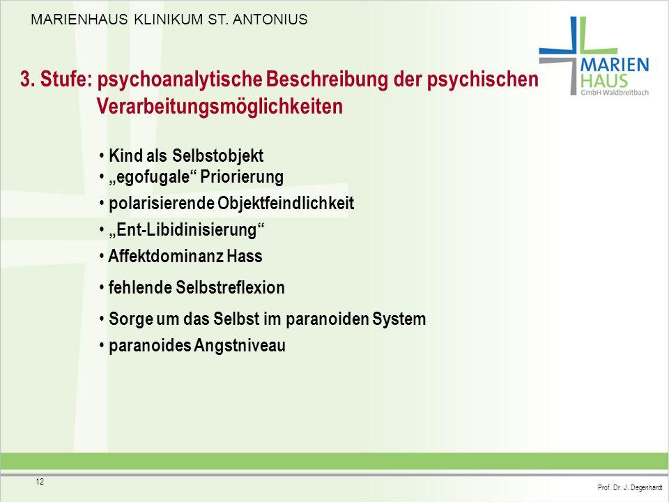 """MARIENHAUS KLINIKUM ST. ANTONIUS Prof. Dr. J. Degenhardt 12 3. Stufe: psychoanalytische Beschreibung der psychischen Verarbeitungsmöglichkeiten """"egofu"""