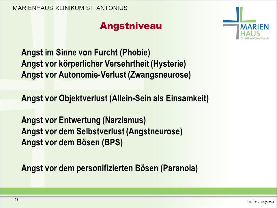 MARIENHAUS KLINIKUM ST. ANTONIUS Prof. Dr. J. Degenhardt 13 Angstniveau Angst im Sinne von Furcht (Phobie) Angst vor körperlicher Versehrtheit (Hyster