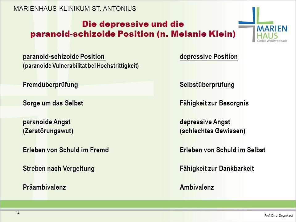 MARIENHAUS KLINIKUM ST. ANTONIUS Prof. Dr. J. Degenhardt 14 Die depressive und die paranoid-schizoide Position (n. Melanie Klein) paranoid-schizoide P