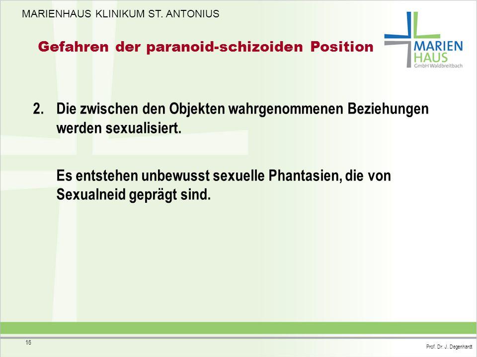 MARIENHAUS KLINIKUM ST. ANTONIUS Prof. Dr. J. Degenhardt 16 Gefahren der paranoid-schizoiden Position 2. Die zwischen den Objekten wahrgenommenen Bezi