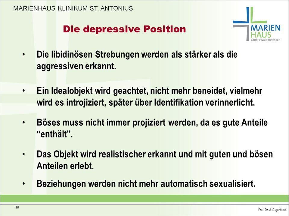 MARIENHAUS KLINIKUM ST. ANTONIUS Prof. Dr. J. Degenhardt 18 Die depressive Position Die libidinösen Strebungen werden als stärker als die aggressiven