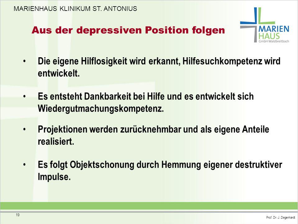 MARIENHAUS KLINIKUM ST. ANTONIUS Prof. Dr. J. Degenhardt 19 Aus der depressiven Position folgen Die eigene Hilflosigkeit wird erkannt, Hilfesuchkompet