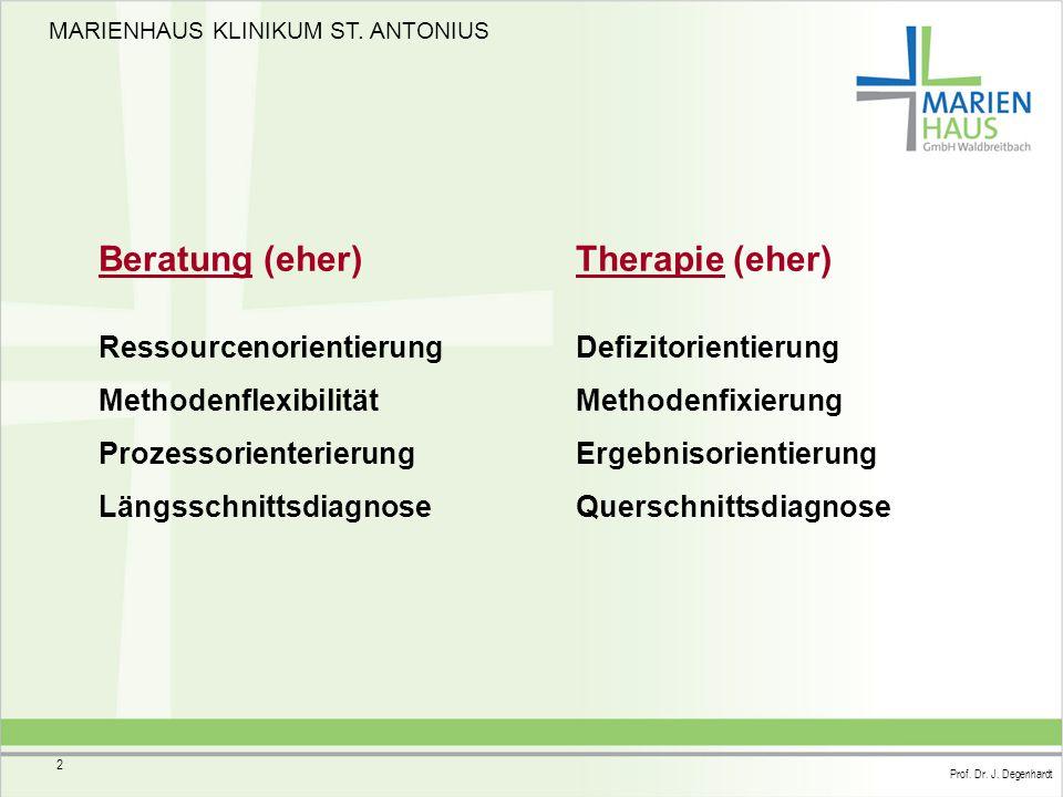 MARIENHAUS KLINIKUM ST. ANTONIUS Prof. Dr. J. Degenhardt 2 Ressourcenorientierung Methodenflexibilität Prozessorienterierung Längsschnittsdiagnose Ber