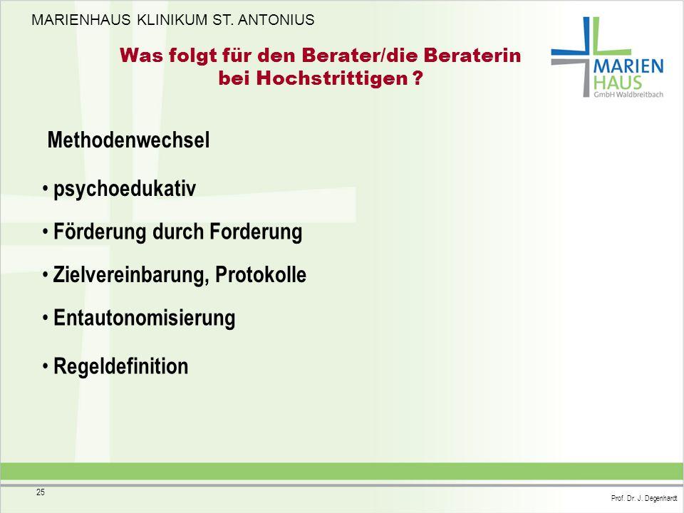 MARIENHAUS KLINIKUM ST. ANTONIUS Prof. Dr. J. Degenhardt 25 Was folgt für den Berater/die Beraterin bei Hochstrittigen ? Methodenwechsel psychoedukati