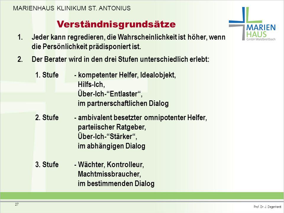 MARIENHAUS KLINIKUM ST. ANTONIUS Prof. Dr. J. Degenhardt 27 Verständnisgrundsätze 1. Jeder kann regredieren, die Wahrscheinlichkeit ist höher, wenn di