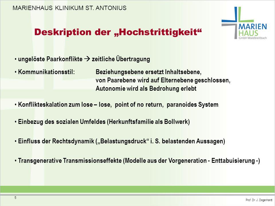 MARIENHAUS KLINIKUM ST. ANTONIUS Prof. Dr. J. Degenhardt 5 ungelöste Paarkonflikte  zeitliche Übertragung Kommunikationsstil:Beziehungsebene ersetzt