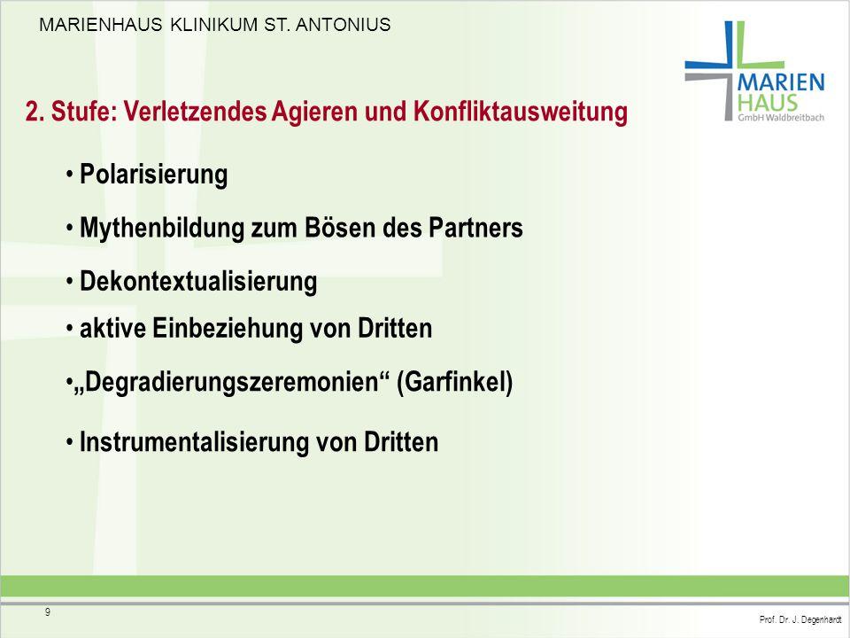MARIENHAUS KLINIKUM ST. ANTONIUS Prof. Dr. J. Degenhardt 9 2. Stufe: Verletzendes Agieren und Konfliktausweitung Polarisierung Mythenbildung zum Bösen