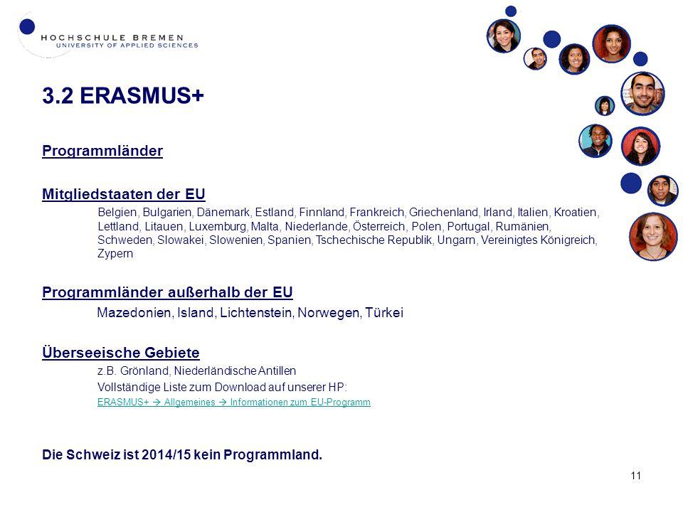 11 3.2 ERASMUS+ Programmländer Mitgliedstaaten der EU Belgien, Bulgarien, Dänemark, Estland, Finnland, Frankreich, Griechenland, Irland, Italien, Kroatien, Lettland, Litauen, Luxemburg, Malta, Niederlande, Österreich, Polen, Portugal, Rumänien, Schweden, Slowakei, Slowenien, Spanien, Tschechische Republik, Ungarn, Vereinigtes Königreich, Zypern Programmländer außerhalb der EU Mazedonien, Island, Lichtenstein, Norwegen, Türkei Überseeische Gebiete z.B.