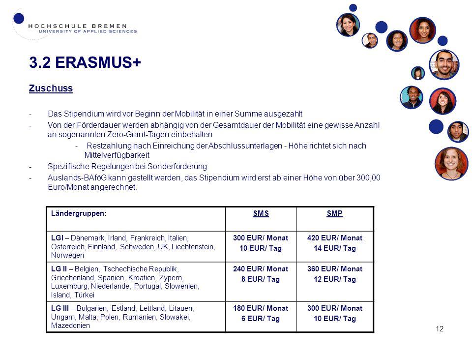 12 3.2 ERASMUS+ Zuschuss -Das Stipendium wird vor Beginn der Mobilität in einer Summe ausgezahlt -Von der Förderdauer werden abhängig von der Gesamtdauer der Mobilität eine gewisse Anzahl an sogenannten Zero-Grant-Tagen einbehalten - Restzahlung nach Einreichung der Abschlussunterlagen - Höhe richtet sich nach Mittelverfügbarkeit -Spezifische Regelungen bei Sonderförderung -Auslands-BAföG kann gestellt werden, das Stipendium wird erst ab einer Höhe von über 300,00 Euro/Monat angerechnet.