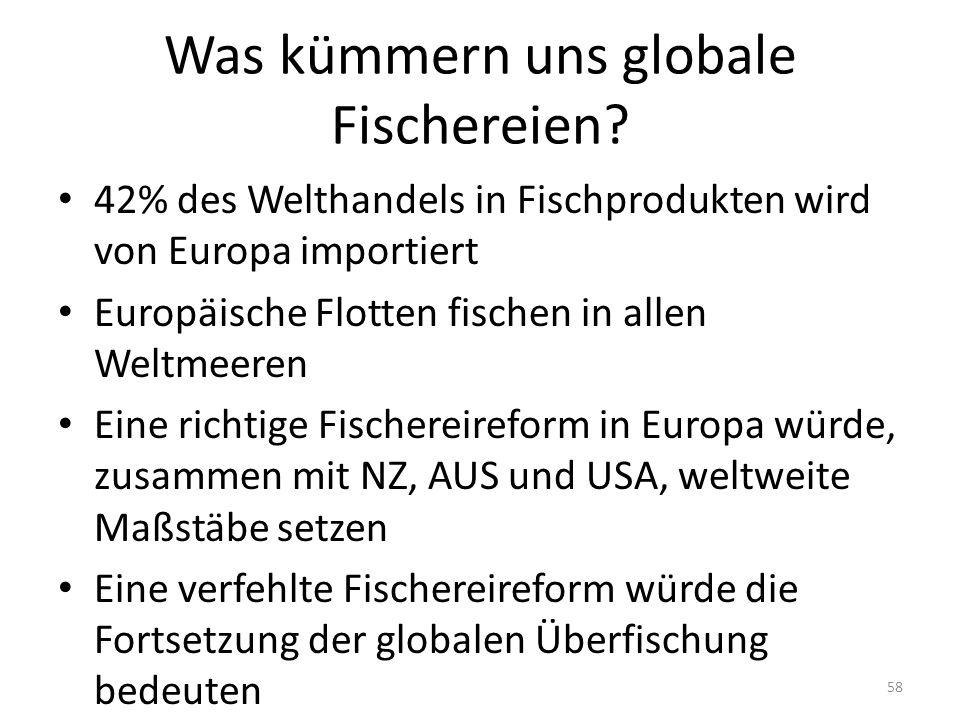 Was kümmern uns globale Fischereien? 42% des Welthandels in Fischprodukten wird von Europa importiert Europäische Flotten fischen in allen Weltmeeren