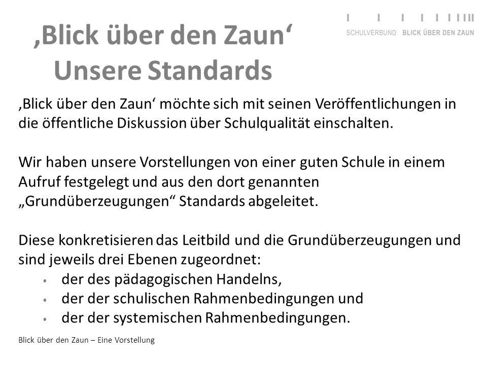 Blick über den Zaun – Eine Vorstellung 'Blick über den Zaun' Unsere Standards 'Blick über den Zaun' möchte sich mit seinen Veröffentlichungen in die ö