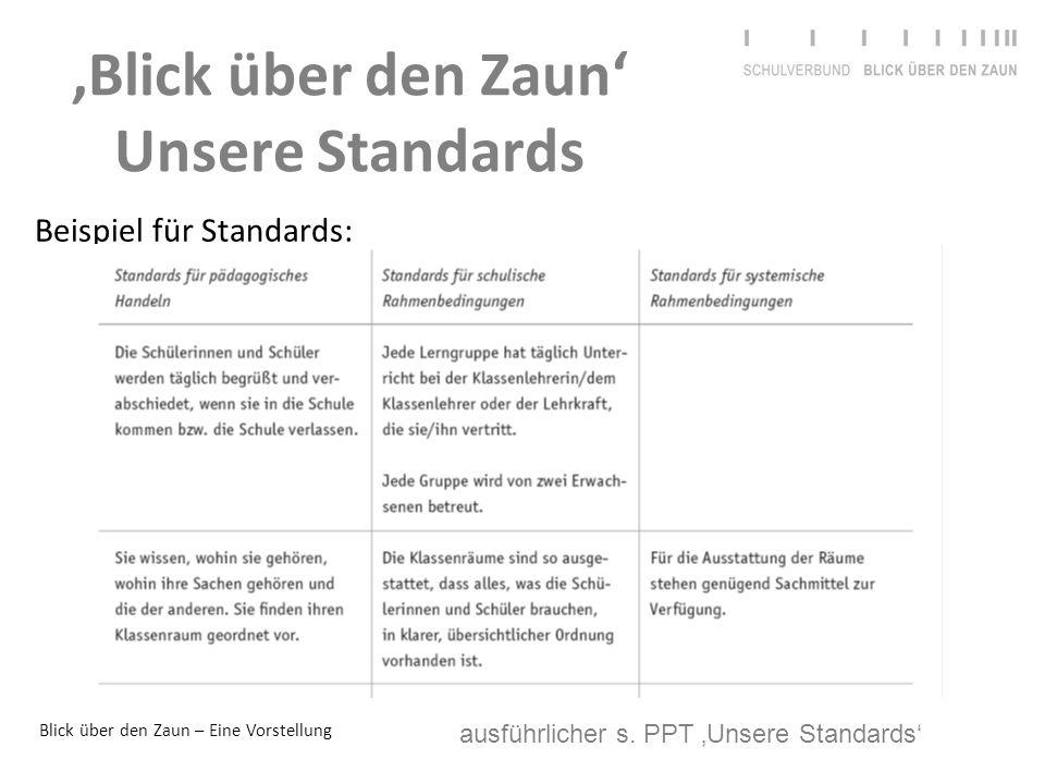 Blick über den Zaun – Eine Vorstellung 'Blick über den Zaun' Unsere Standards Beispiel für Standards: ausführlicher s. PPT 'Unsere Standards'