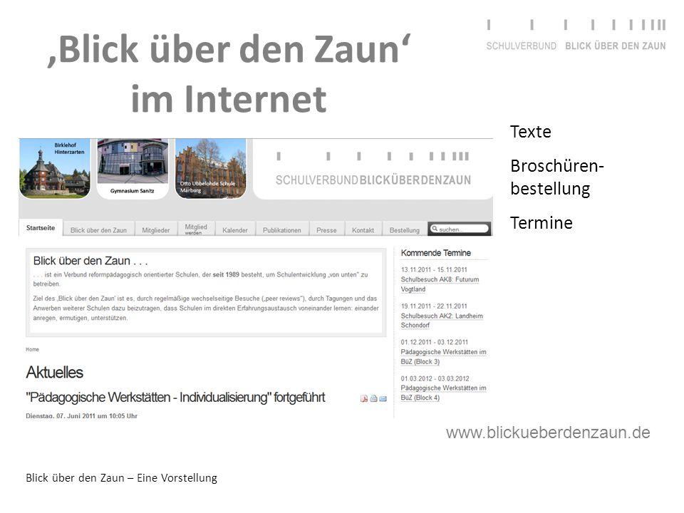 Blick über den Zaun – Eine Vorstellung 'Blick über den Zaun' im Internet Texte Broschüren- bestellung Termine www.blickueberdenzaun.de