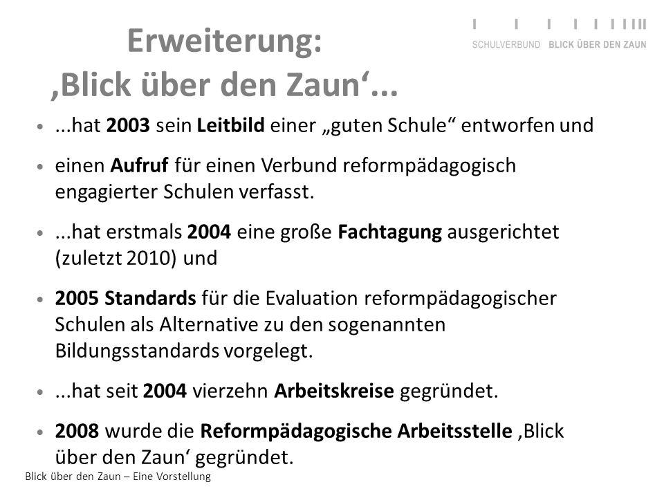"""Blick über den Zaun – Eine Vorstellung Erweiterung: 'Blick über den Zaun'......hat 2003 sein Leitbild einer """"guten Schule"""" entworfen und einen Aufruf"""